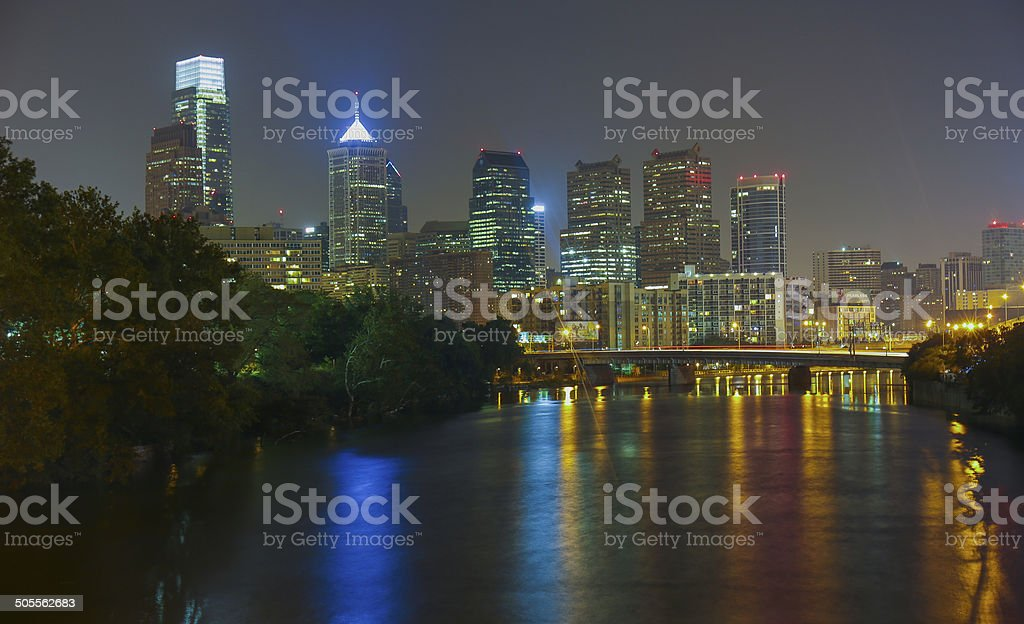 Philadelphia Skyline, Night - Long Exposure stock photo