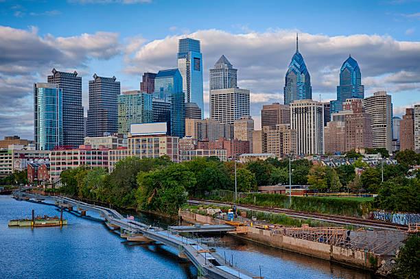 Philadelphia Skyline on the schuylkill river stock photo