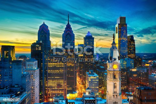 Philadelphia Skyline from the PSFS Building 33rd Floor in the Lowes Hotel at sunset with City Hall, Comcast Building, One and Two Liberty Place