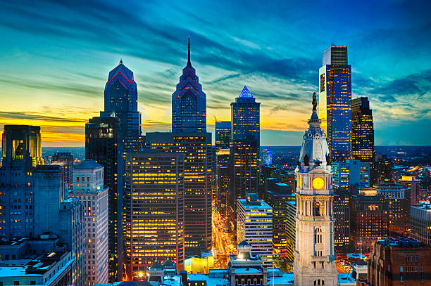 philadelphia skyline with william penn and city hall - philadelphia skyline stock photos and pictures