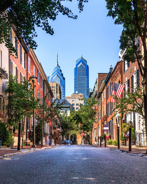 Philadelphia streets View of of South Smedley Street in Philadelphia with the downtown buildings in the background pennsylvania stock pictures, royalty-free photos & images
