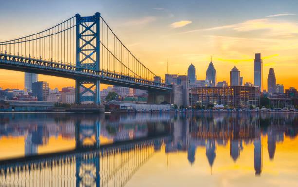 Philadelphia Sunset Skyline Refection stock photo