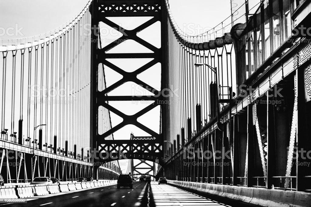 Philadelphia traffic on Ben Franklin Bridge stock photo