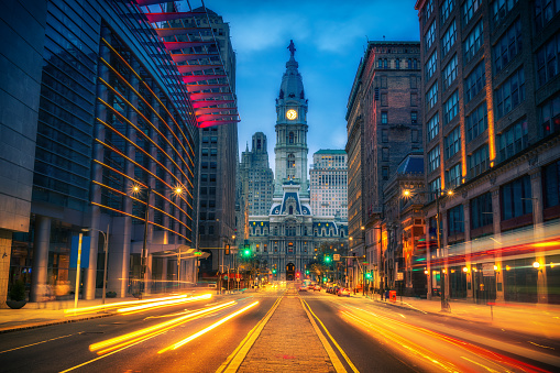 Philadelphia's City Hall at dusk