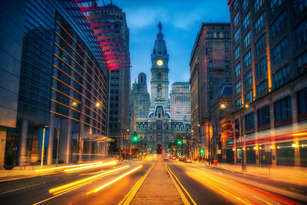 Philadelphia's City Hall at dusk Philadelphia's historic City Hall at dusk pennsylvania stock pictures, royalty-free photos & images