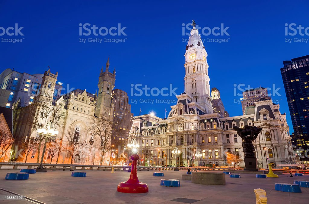 Philadelphia's landmark historic City Hall building stock photo
