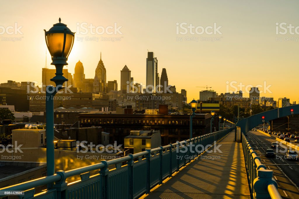 Philadelpia Downtown at sunset. The view from the Benjamin Franklin Bridge. stock photo