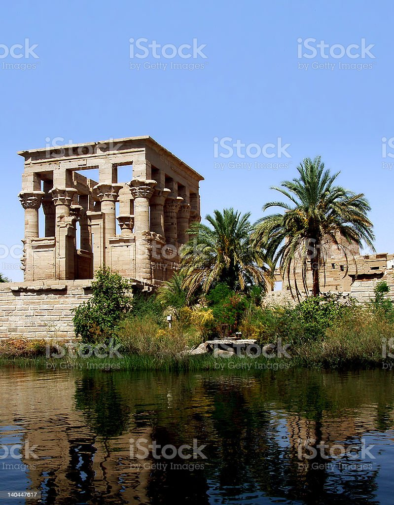philae temple at nile's river royalty-free stock photo