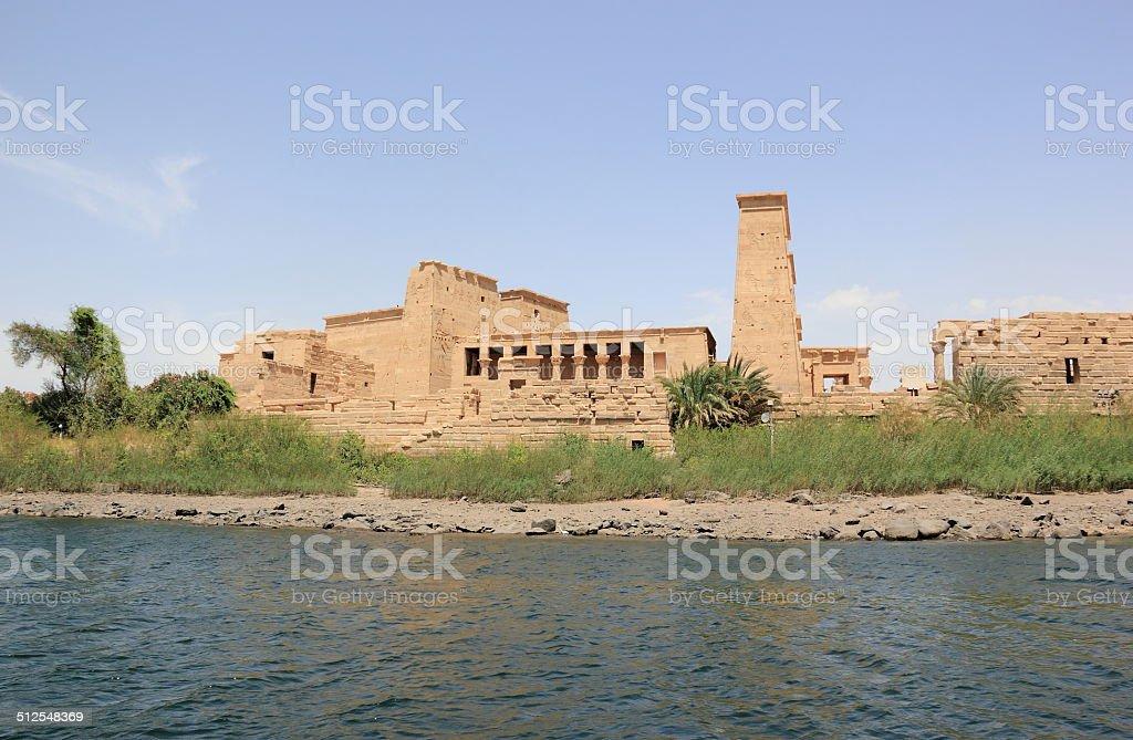 Philae temple on Agilkia Island as seen from the Nile. stock photo