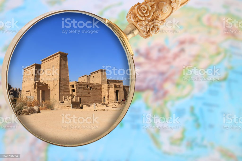 Philae Temple through a magnifying glass stock photo