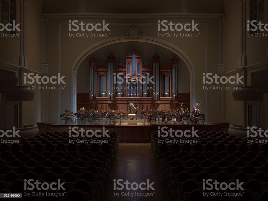 Philarmonie Hall Orchestra 3d rendering stock photo