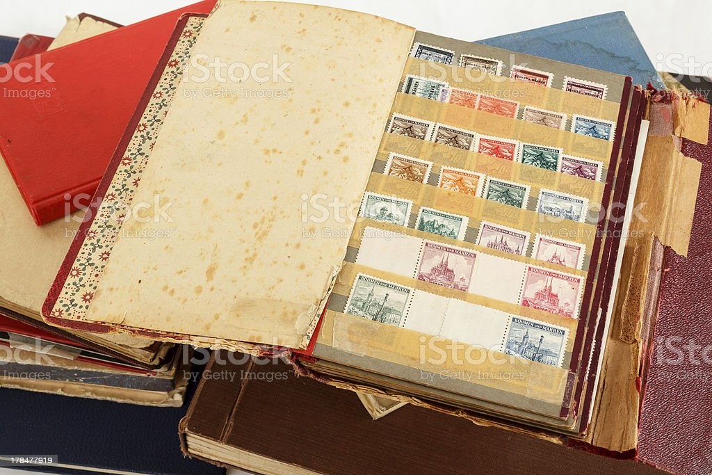 philatelic stamp collection albums stock photo