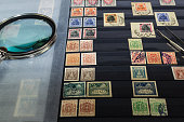 Collection of postage stamps in the album