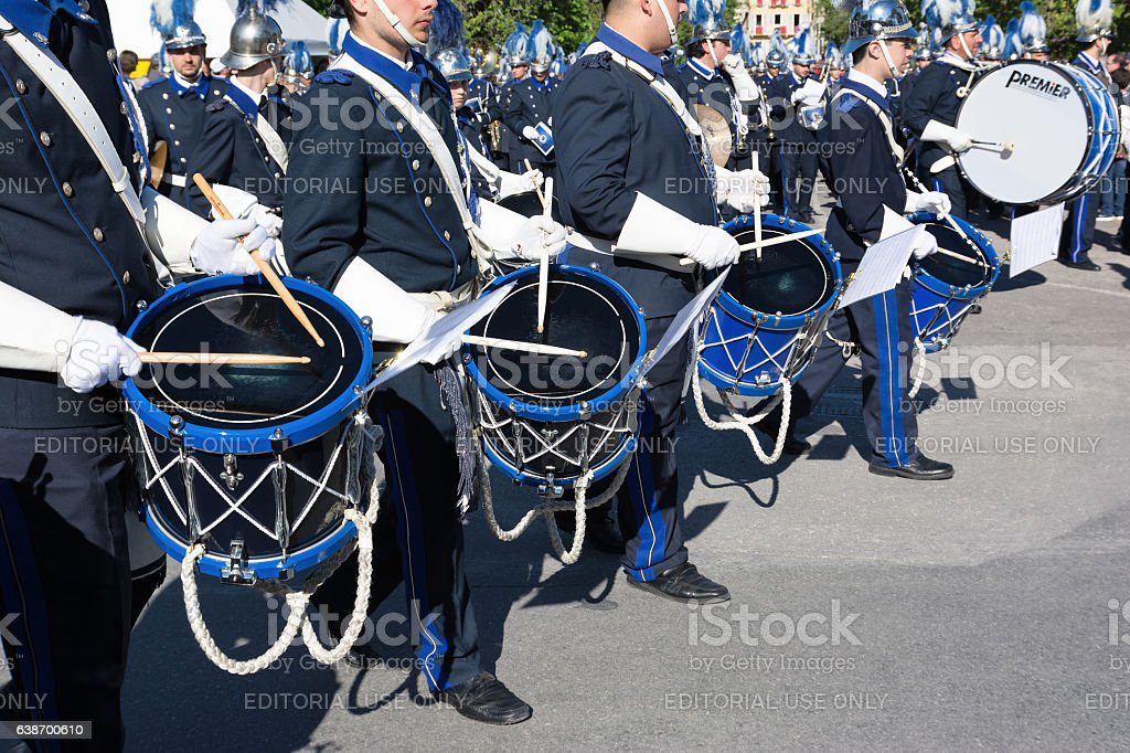 Philharmonic musicians playing in Corfu Easter holiday celebrations. stock photo