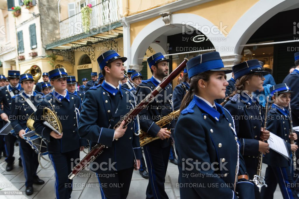 Philharmonic musicians playing in Corfu Easter holiday celebrations. Corfu has a great tradition in music, with 18 philharmonic bands. stock photo