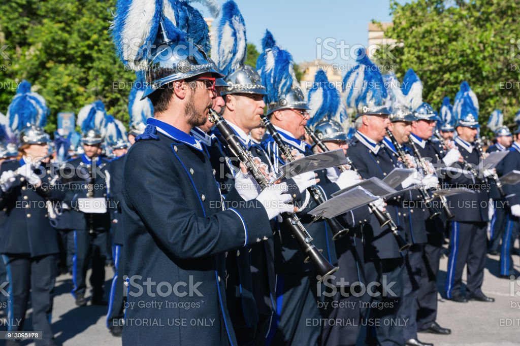 Philharmonic musicians playing in Corfu Easter holiday celebrations. Corfu has a great tradition in music, with 18 philharmonic bands playing a major role on the island's music education and culture. stock photo