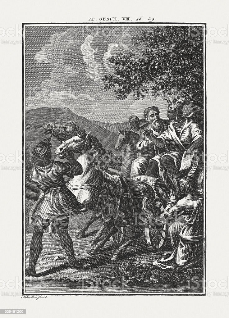Philip and the Ethiopian Eunuch (Acts 8), published c. 1850 stock photo
