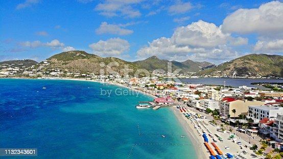 Aerial view of Philipsburg, the capital city of Dutch Sint Maarten