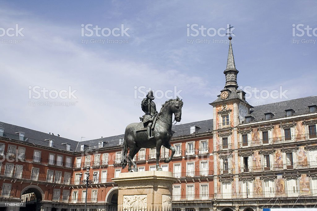 Philippe IV statue, Plaza Mayor, Madrid royalty-free stock photo