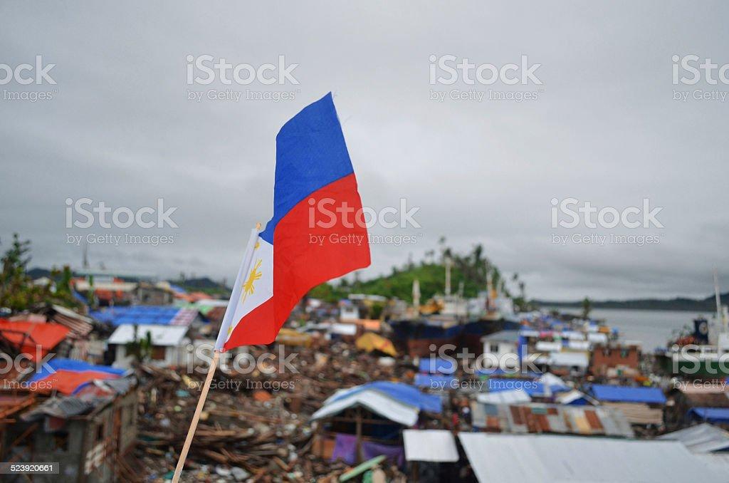 Philippine Flag Over Tacloban stock photo