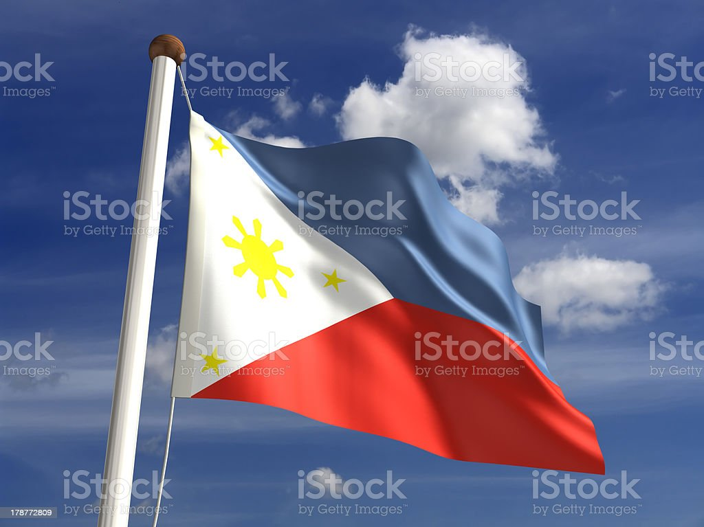 Philippine flag (with clipping path) royalty-free stock photo