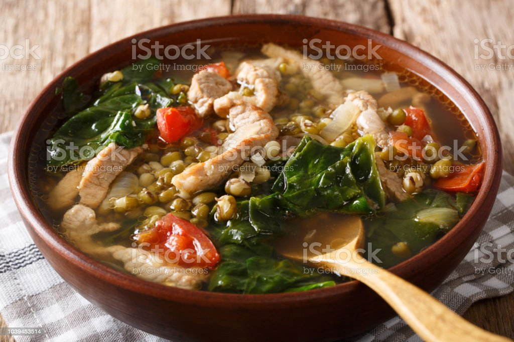 Philippine food: Mung beans soup close-up in a bowl. horizontal stock photo