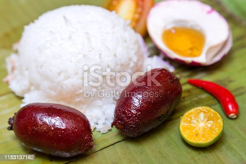 Philippine authentic longganisa sausages with egg and rice