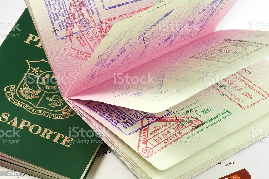 philippine passports with visa stamps royalty-free stock photo