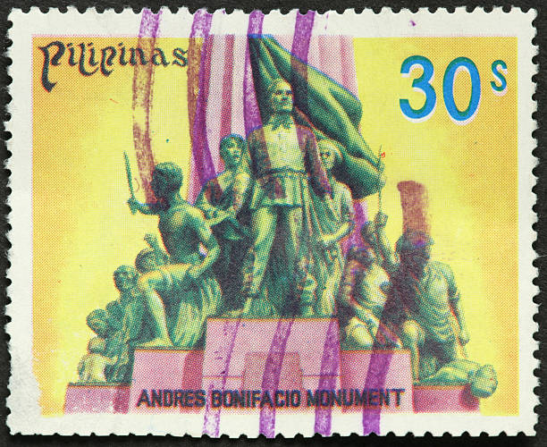 Philippine war monument on an old postage stamp stock photo