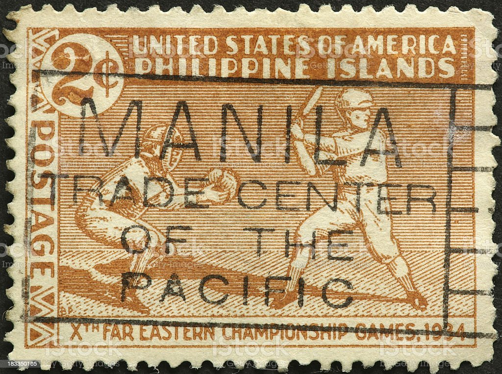 Philippines 1930s baseball stamp royalty-free stock photo