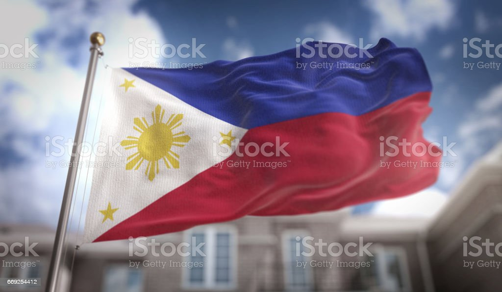 Philippines Flag 3D Rendering on Blue Sky Building Background stock photo