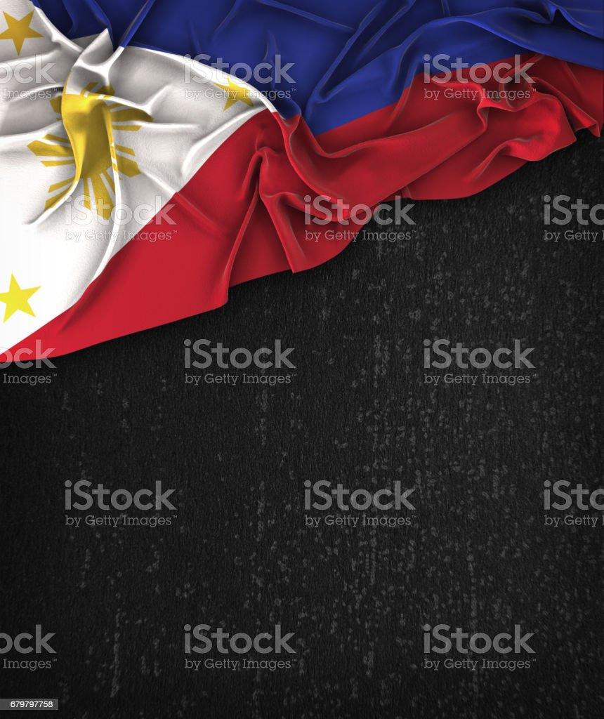Philippines Flag Vintage on a Grunge Black Chalkboard With Space For Text stock photo