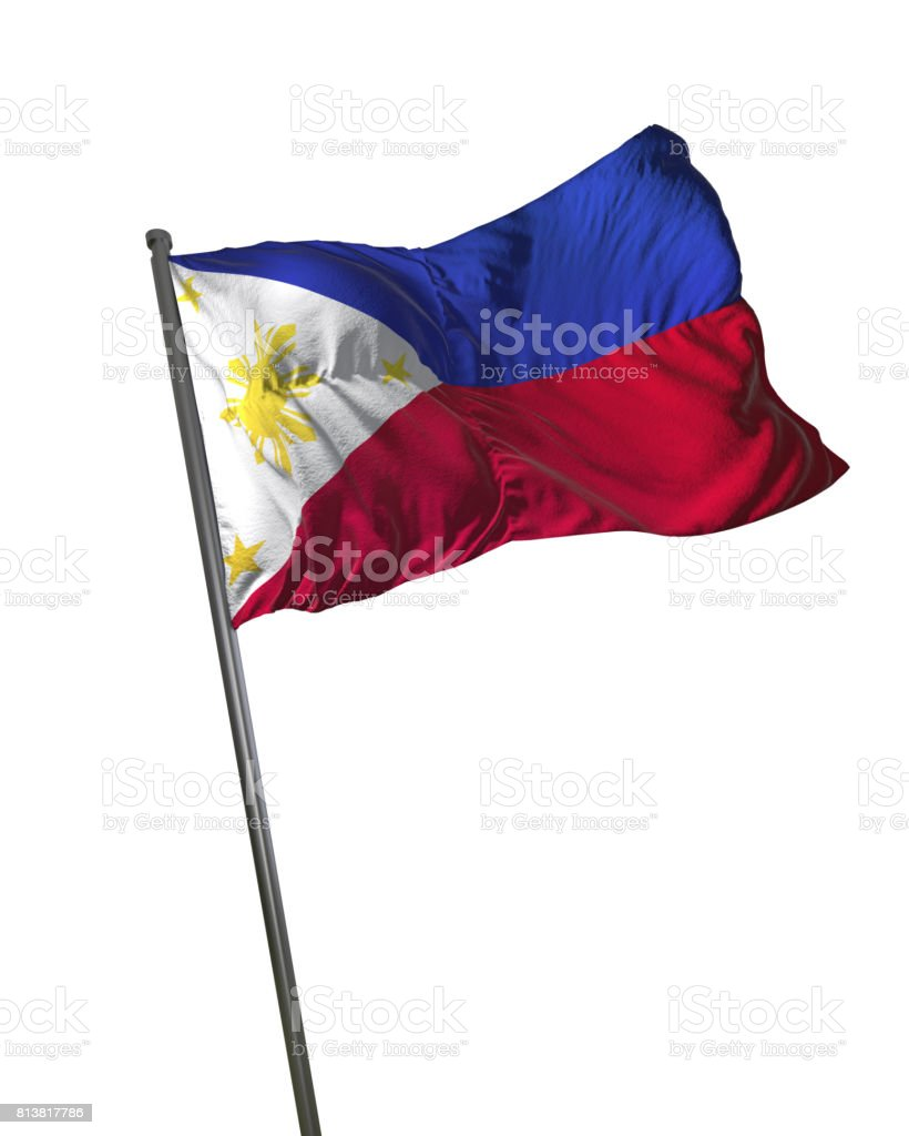 Philippines Flag Waving Isolated on White Background Portrait stock photo