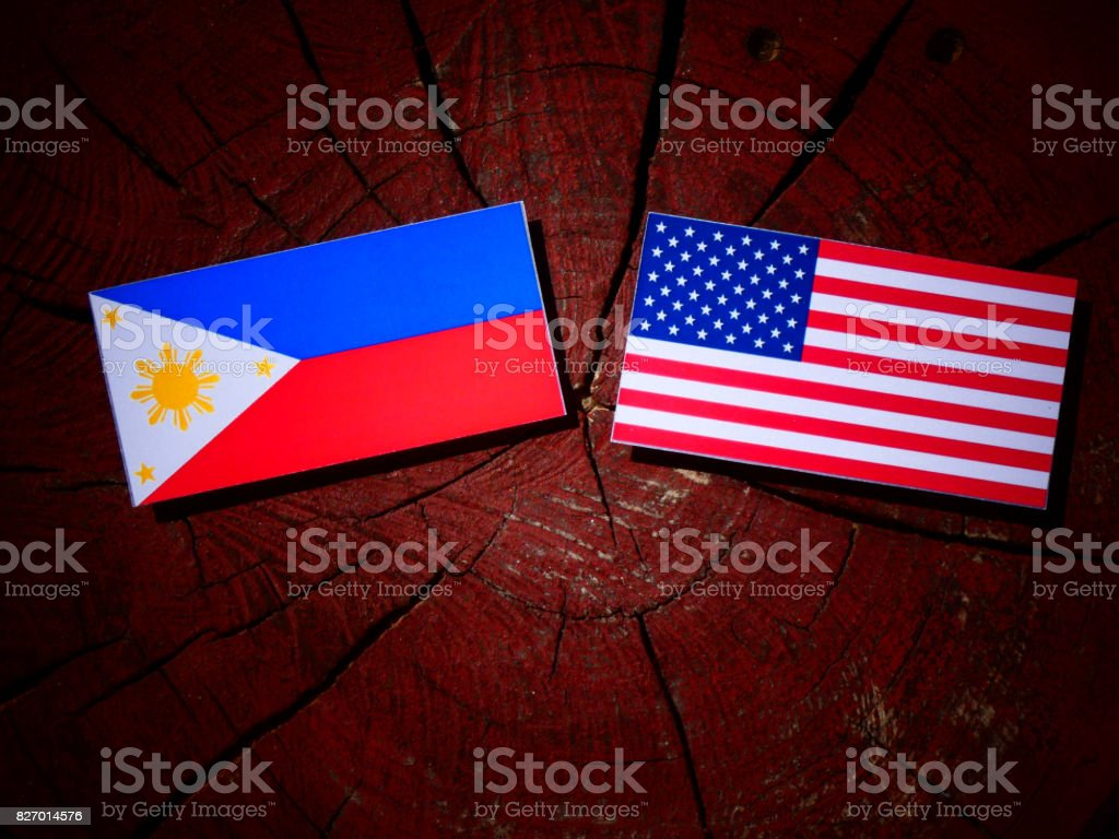 Philippines flag with USA flag on a tree stump isolated stock photo