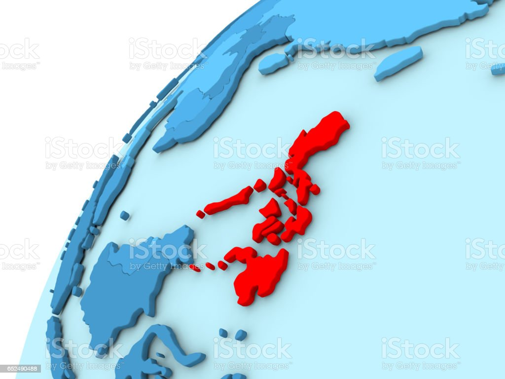 Philippines in red on blue globe stock photo