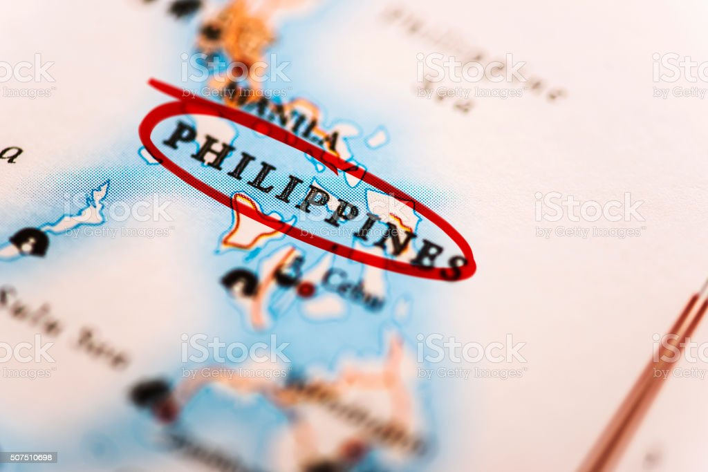Philippines marked on map with red marker stock photo