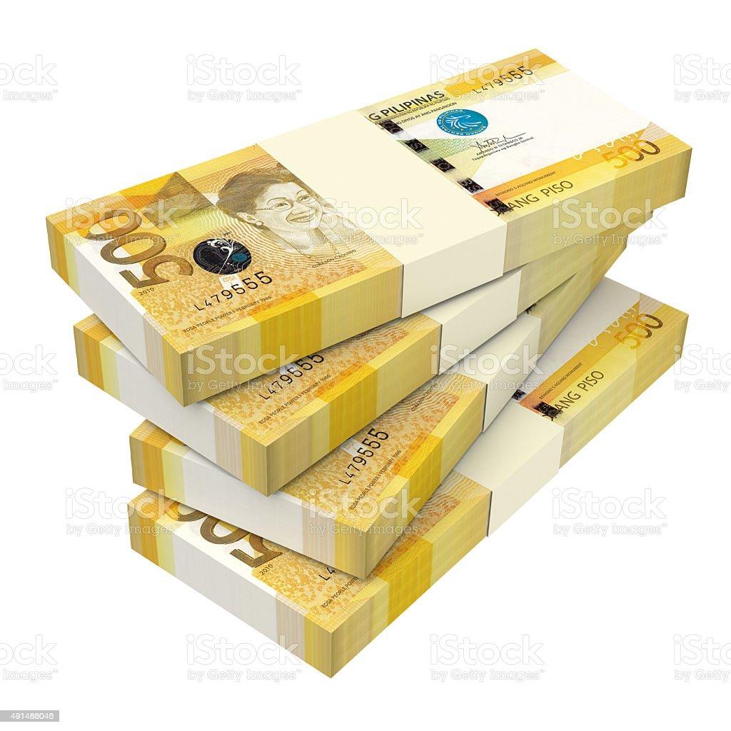 Philippines money isolated on white background. stock photo