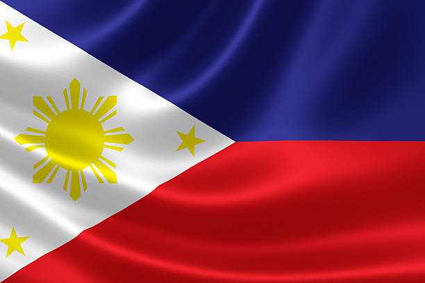 Philippines National Flag Close Up stock photo