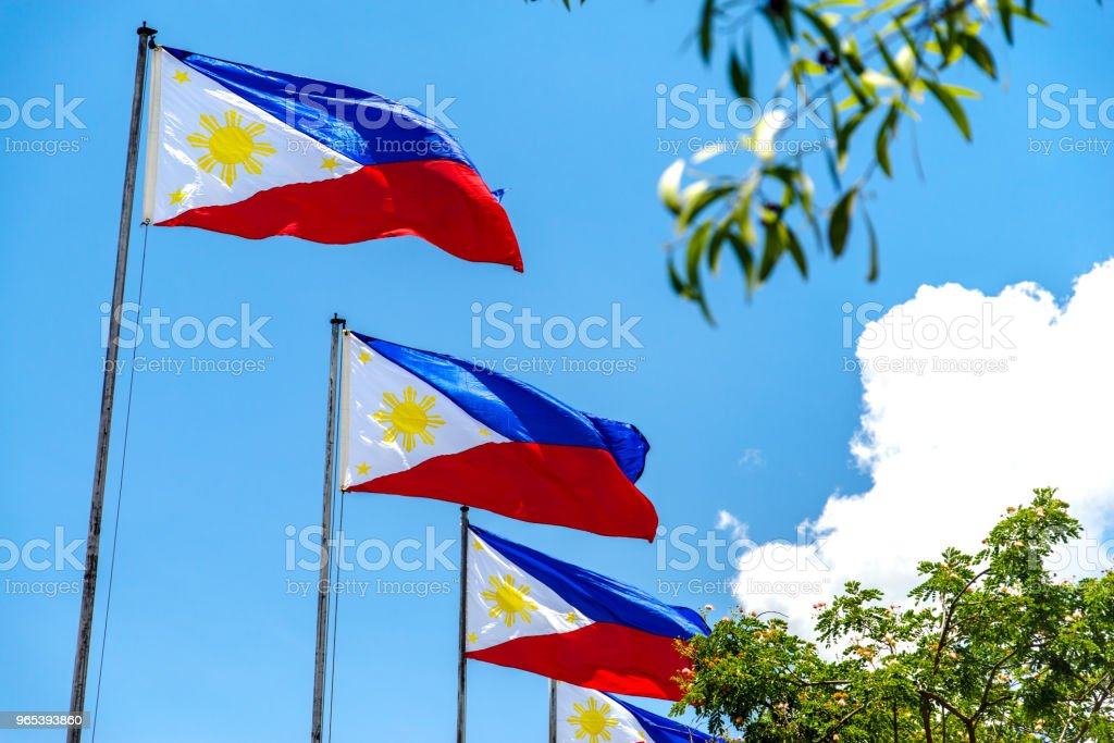 Philippines National flag flying in the wind zbiór zdjęć royalty-free