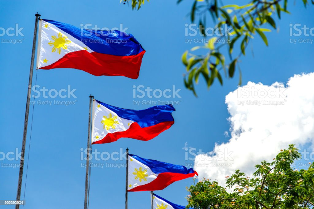 Philippines National flag flying in the wind royalty-free stock photo