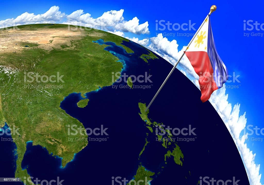 Philippines National Flag Marking The Country Location On World Map