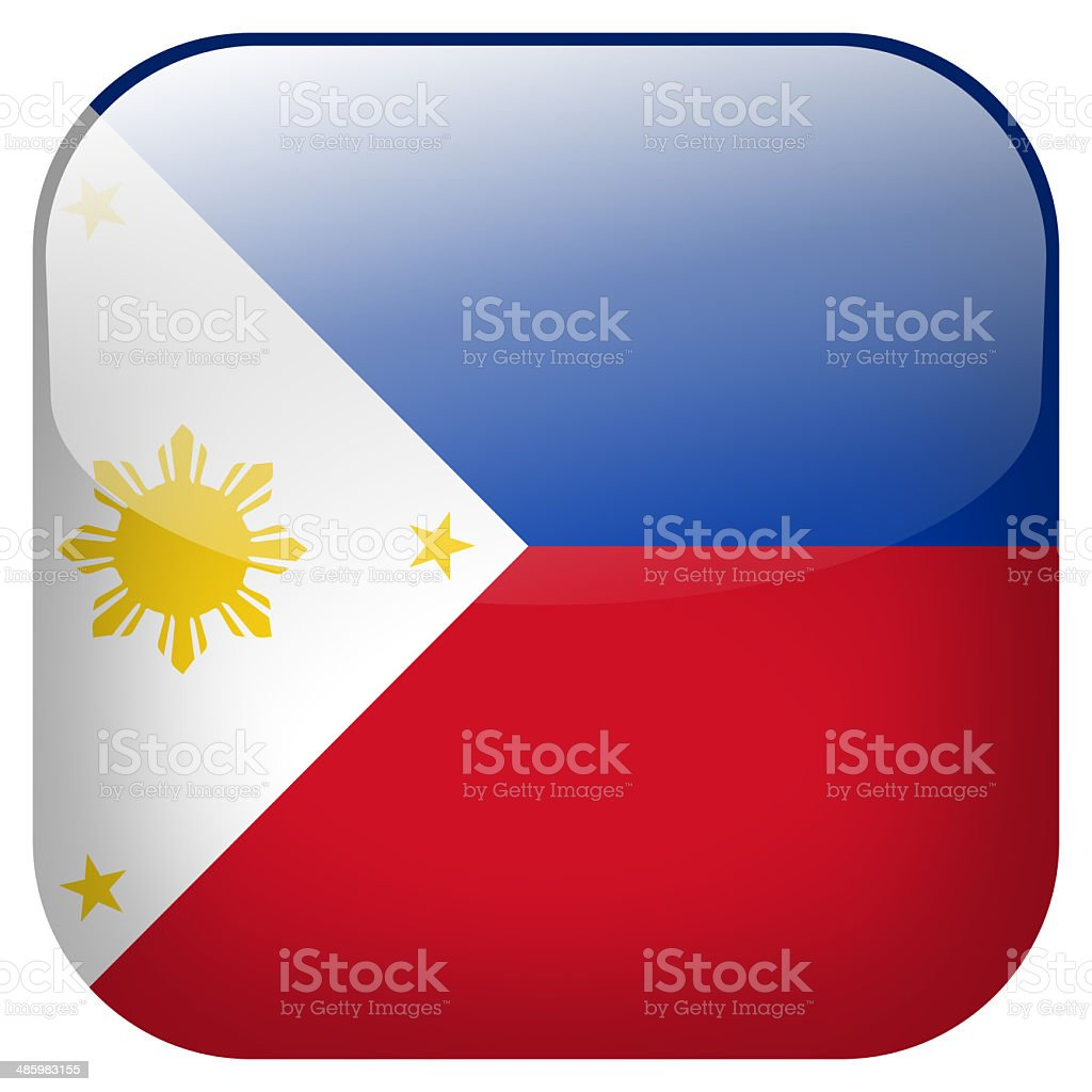Philippines national flag square button isolated on white background royalty-free stock photo