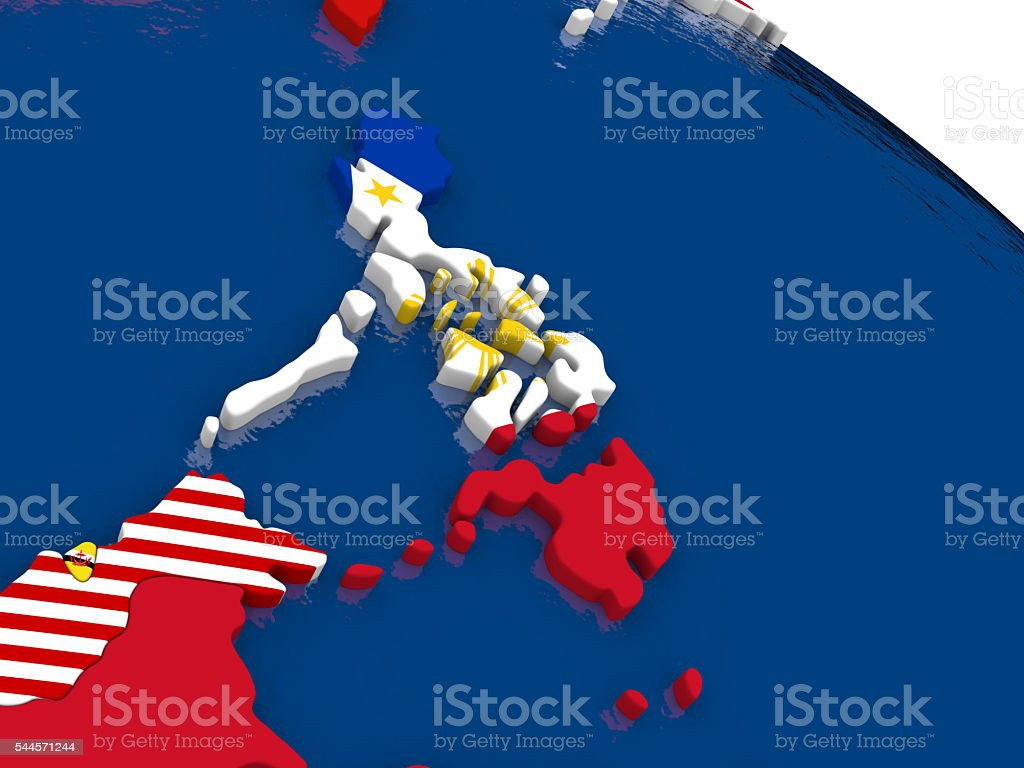 Philippines on 3D map with flags stock photo