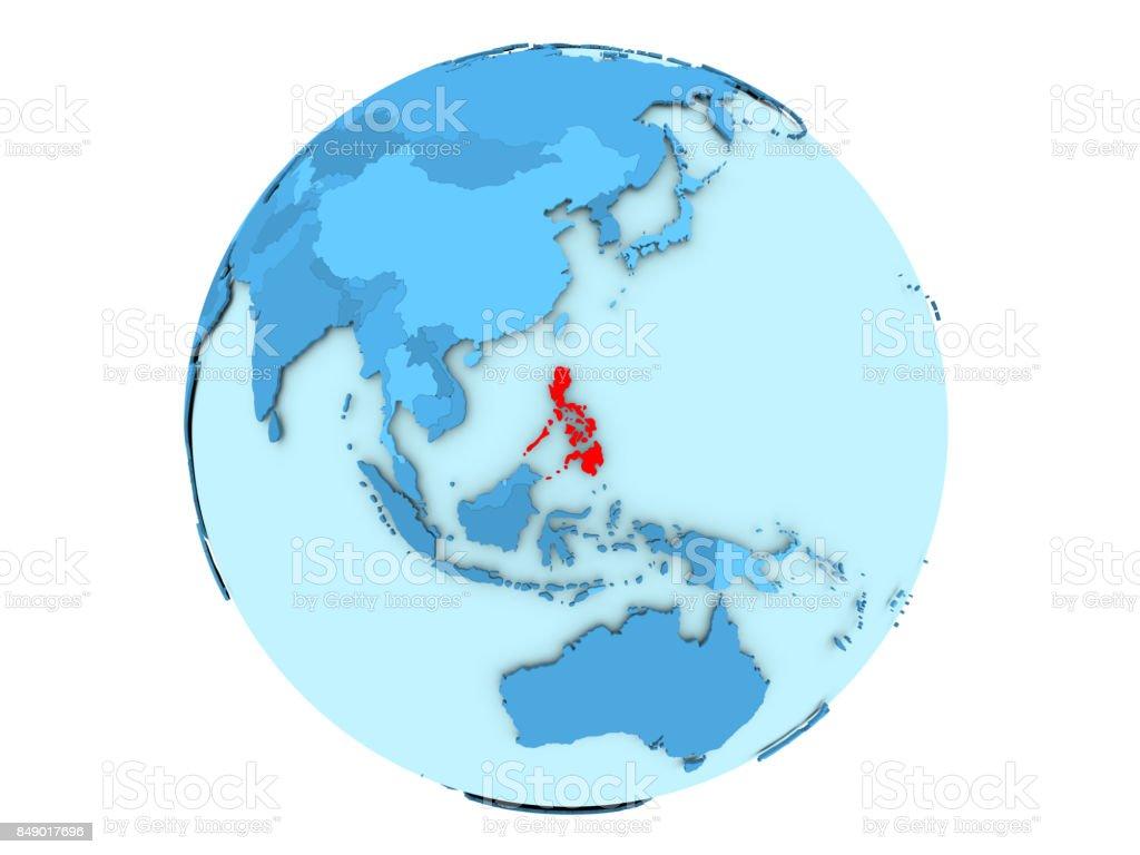 Philippinen auf blauen Globus isoliert – Foto