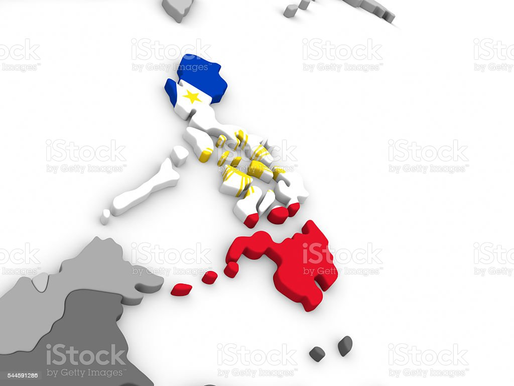 Philippines on globe with flag stock photo