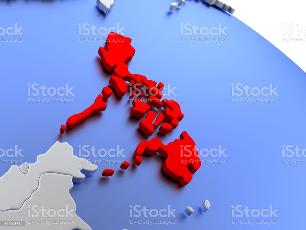 Philippines on world map stock photo