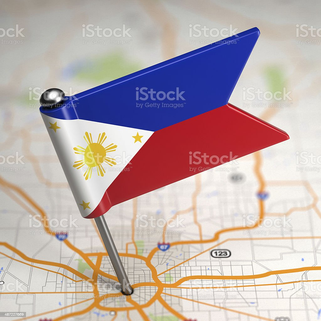Philippines Small Flag on a Map Background. stock photo