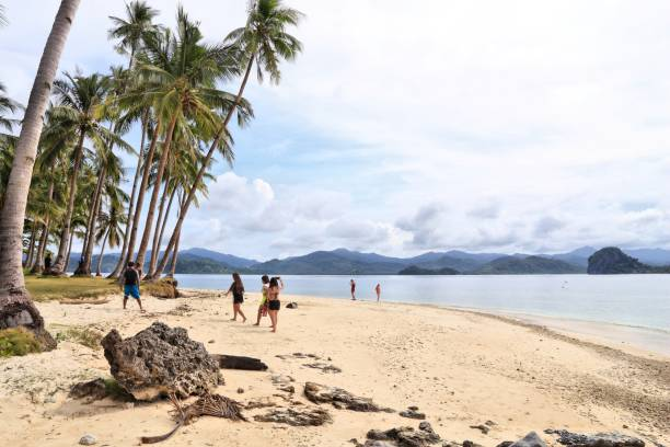 Philippines tourism People visit Pinagbuyutan Island beach in Palawan, Philippines. 6 million foreign tourists visited Philippines in 2016. pinagbuyutan island stock pictures, royalty-free photos & images