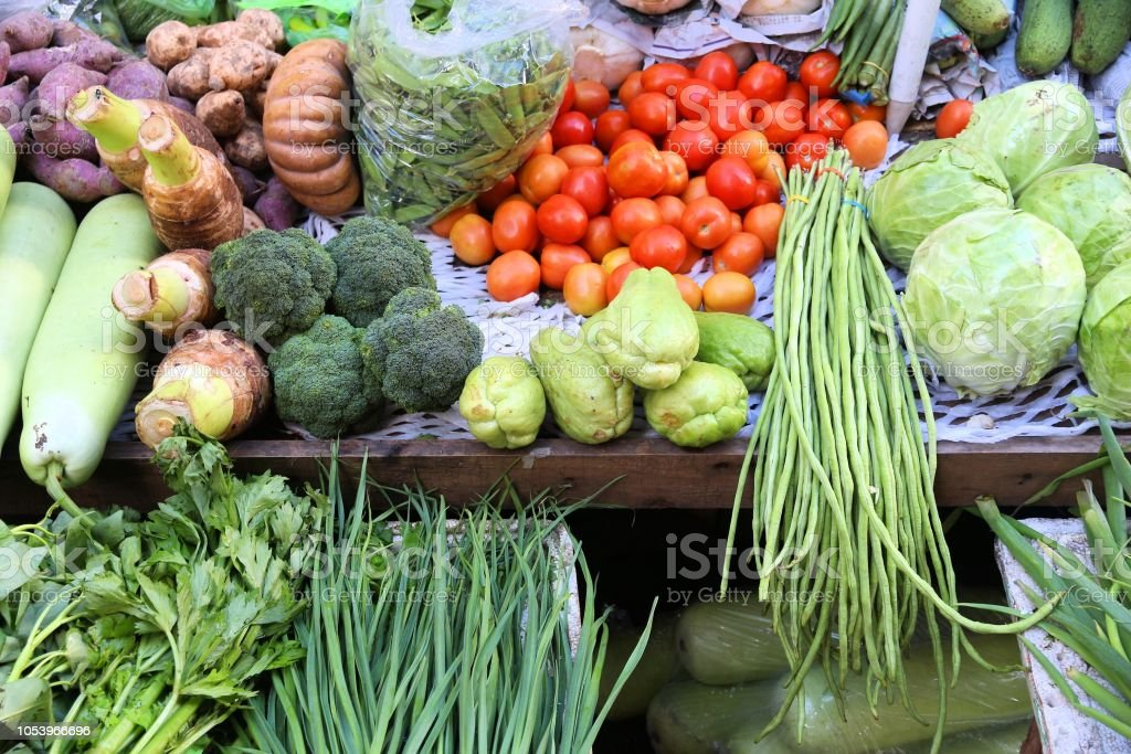 Philippines vegetable store stock photo