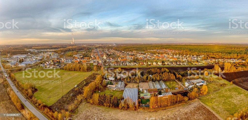 Philippsburg Huttenheim Germany Aerial view – Foto